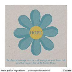 Psalm 31 Blue Hope Flower Sandstone Coaster