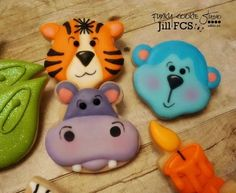 Zoo Cookies~ By Jill fcs, Blue monkey, Purple hippo, Orange tiger, Cookies For Kids, Fancy Cookies, Cute Cookies, Cupcake Cookies, Holiday Cookies, Cupcakes, Bolacha Cookies, Galletas Cookies, Iced Sugar Cookies