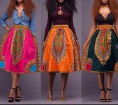 Dashiki Midi skirt African skirt African Dashiki by Zedstylez
