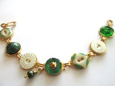 GREEN Antique button bracelet. Mother of by SewSandyShop on Etsy