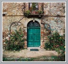 teal door..English cottage vibe