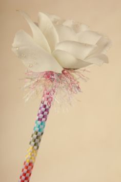 Rainbow Bright White Rose Flower Pen Single