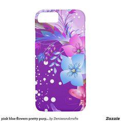 pink blue flowers pretty purple case