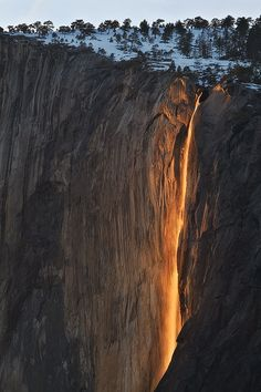 In Yosemite National Park there is a window in the month of February if the conditions are perfect, sunset light will only strike the waterfall.