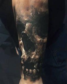 Tattoo skull with teeth
