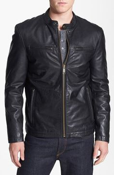 New Men Quilted Leather Jacket Soft Lambskin Biker Bomber T831