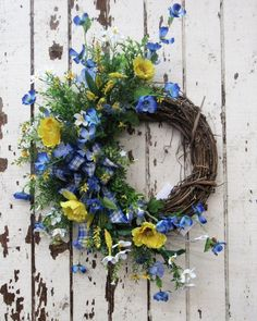 Yellow, Blue and White Silk Floral Spring Crescent Front Door Wreath/Spring Wreath/Spring Decor/Summer Decor/Summer Wreath Ready to Ship Size Crescent - Yellow Poppy, Blue Cosmos, White Wildflower with a Blue and White Checked Bow Petite Size Wreath Summer Porch Decor, Summer Front Porches, Spring Front Door Wreaths, Spring Wreaths, Easter Wreaths, Homemade Door Wreaths, Front Door Decor, Porch Decorating, Decorating Ideas