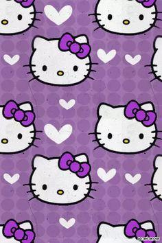 Hello Kitty Purple Hearts iPhone Wallpaper on We Heart It