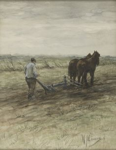 Anton Mauve (Dutch, Ploughing farmer, Watercolor x cm Anton, Animal Drawings, My Drawings, La Haye, Velasco, Country Scenes, Dutch Painters, Indian Paintings, Vincent Van Gogh