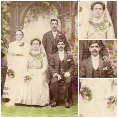 The bride wears a lovely striped silk dress with a full veil.  Her groom holds a pair of gloves in his hands.  Could the couple have requested this all over green and red pattern or was this a specialty of the photographer?  I'm looking for other examples of his work