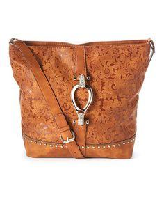 Look at this #zulilyfind! Tan Floral Leather Crossbody Bag #zulilyfinds