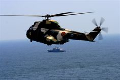 Romanian PUMA Helicopter (IAR-330) over the Black Sea, during Romanian Navy Day, August 15, 2010.
