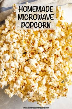 Microwave popcorn is quick and easy to make at home and pops up fresh and perfect every time. Make in a bowl or a paper bag and add any favorite toppings! Veg Recipes, Snack Recipes, Cooking Recipes, Homemade Microwave Popcorn, Appetizer Recipes, Healthy Appetizers, Spiced Apples, Pumpkin Spice, Family Meals