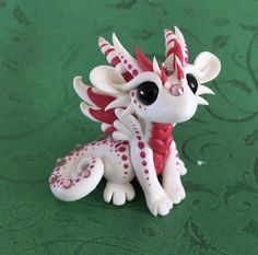 White and Red Spotted Valentines Dragon by Dragonsandbeasties