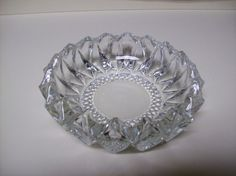 Vintage Crystal Cut Glass Ashtray For Cigars, Cigarettes And Pipes
