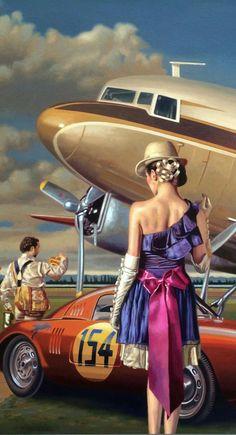 Amazing Travel Art By Peregrine Heathcote. Arte Punk, Arte Sci Fi, Poster Art, Art Deco Posters, Vladimir Volegov, Florence Academy Of Art, Haida Art, Airplane Art, Peregrine