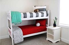 Beddy's is the only way to go when it comes to bunk beds. No more scrapping your knuckles when trying to make the beds. All your kiddos have to do is wake up and ZIP it up! Did you know we now have cute sports pillows too! Sports Bedding, Red Bedding, Luxury Bedding, Modern Bedding, Comforter, Bedding Sets, Bedroom Images, Bedroom Pictures, Bedding Master Bedroom