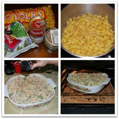Easy Tuna Casserole - so simple and so good. Put cornflakes on top and used about 3 cups grated cheese. Yummy. P:9 L:10