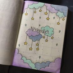 35 Beautiful and Enchanting November Bujo Ideas for Your Bullet Journal - - Doodle ideen - Bullet Journal Aesthetic, Bullet Journal Notebook, Bullet Journal Ideas Pages, Bullet Journal Spread, Bullet Journal Layout, Bullet Journal Inspiration, Bullet Journals, Bullet Journal November Ideas, Diy Journal Cover Ideas