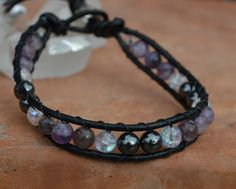 Amethyst and Hematite Leather Wrap with sterling by CrystalMeB