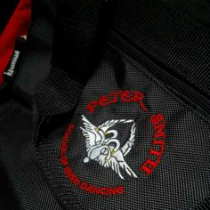 Custom embroidery onto a dance bag