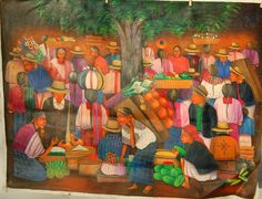 Guatemala Painting Mayan Night Market Beneath the Tree. #60: Orig. Acrylic. | eBay