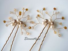 Pearl hair pins, gold citrine topaz, fall wedding bride fascinator hair piece, bridal hair accessories. Swarovski ivory champagne pearls