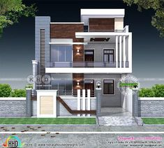 5 bedroom flat roof contemporary India home 5 bedroom contemporary style flat roof house plan in an area of 3000 square feet by S. Bungalow House Design, House Front Design, Small House Design, House Outside Design, Modern Exterior House Designs, Modern House Design, Exterior Design, Exterior Paint, Facade Design