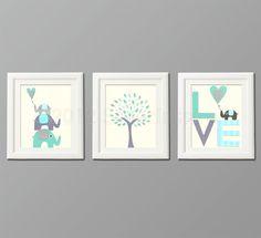 Grey and blue, teal Nursery Art Print Set, Kids Room Decor, Children Wall Art - Tree, love, baby elephant, aqua, gray, teal. $39.95, via Etsy.