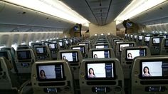 Singapore Airlines Boeing 777-312/ER economy class cabin
