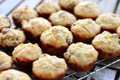 Savory Cheddar Sausage Breakfast Muffins Recipe -- these sausage breakfast muffins are delicious hot and just as good cold, making for a great grab-and-go morning meal! Brunch Recipes, Sweet Recipes, Breakfast Recipes, Brunch Ideas, Breakfast Ideas, Breakfast Muffins, Sausage Breakfast, Sausage Muffins, Savory Breakfast