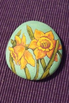 Image result for daffodil painted rock