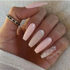 Soft Pink long coffin nails