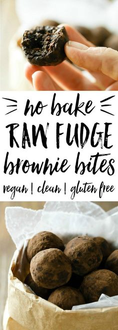 Bake Raw Fudge Brownie Bites ~ Take it easy with no-bake raw fudge brownie bites! A great snack or nutritious dessert! Easy and portable, with 4 healthy ingredients and almost zero effort! Vegan, gluten free, and no refined sugar. Healthy Vegan Dessert, Raw Vegan Desserts, Raw Vegan Recipes, Vegan Treats, Healthy Sweets, Healthy Dessert Recipes, Whole Food Recipes, Snack Recipes, Eat Healthy
