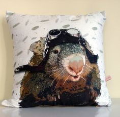 Cushion cover,Australia art ,Wombat ,animal,cute animals,Pilot,eco friendly,organic cotton, decorative pillow, cushion,43cm x 43cm by mytoffeeapple
