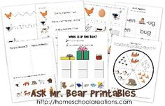 These printables were created to use with Ask Mr. Bear by Marjorie Flack. The Ask Mr. Bear printables include fun activities to tie in with the story ~ Preschool Learning, Preschool Activities, Learning Express, Ask Mr, Reading Themes, Five In A Row, Bear Theme, School Themes, Children's Literature
