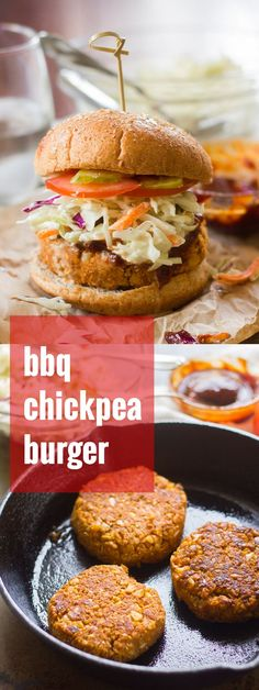 These hearty vegan chickpea burgers are infused and topped with tangy barbecue sauce and served up on buns with creamy slaw.