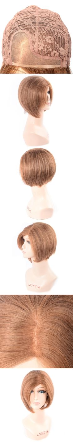 LADYSTAR Hair Unprocessed Remy Human Hair Wig Brazilian Straight Hair Wig Pure Color Short Hair Wig For White Women 6 Inch