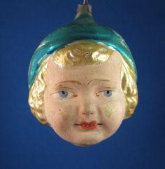 Antique German Glass Christmas Ornament - Flapper Girl Head | eBay