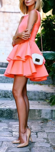 Coral dress.
