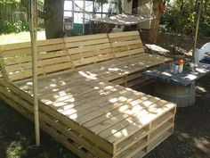 Pallet Patio Sectional | You can see some empty spacing between the pallets, if you make it ...