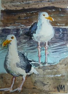Seagulls,ACEO collectible Card Original miniature art in Watercolor Painting   #Realism