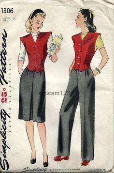 Simplicity 1306 Vintage 1940s Women's Pants, Skirt and Vest Pattern