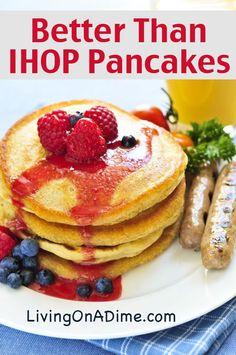 Better Than IHOP Pancakes Recipe - Kuchen, Süsses / cake, sweets - Pfannkuchen Ihop Pancake Recipe Without Buttermilk, I Hop Pancake Recipe, Pancake Recipes, Pancake Flavors, Pancake Dessert, Tasty Pancakes, Pancakes And Waffles, Homemade Pancakes, Fluffy Pancakes