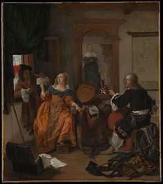A Musical Party. 1659. Oil on canvas.  24 1/2 x 21 3/8 in. (62.2 x 54.3 cm) A woman and her male visitors (to judge from their coats, the walking stick, and the sword) entertain themselves with music as a maid brings refreshments. The bound atlas figure in the background suggests enslavement to sensual delights, which would have amused more than enlightened the contemporary viewer.