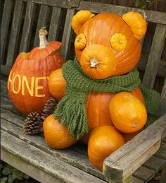 Teddy Bear Pumpkin - Click Pic for More Ideas - #Halloween #Craft #Ideas
