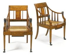 A pair of Danish neoclassical fruitwood-inlaid and ebonized mahogany caned armchairs first quarter 19th century  Sotheby's
