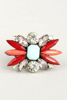 Bright About Now Red Rhinestone Ring at LuLus.com! #lulus #holidaywear