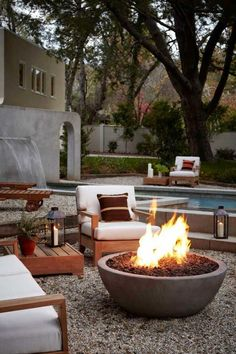 a fire pit + a pool - what more does a backyard need?