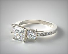 A classic for all of eternity, this three stone ring features two princess shaped diamonds on each side of the center diamond of you choice. Along with pave set diamonds glittering down sides of the ring a design.  | Ring style # 17133W14 on JamesAllen.com. Click to see this ring in 360° HD!